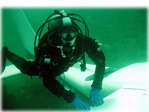 jpg Ketchikan diver Brian Short inspecting a Cessna Centurion which ditched into Tongass Narrows
