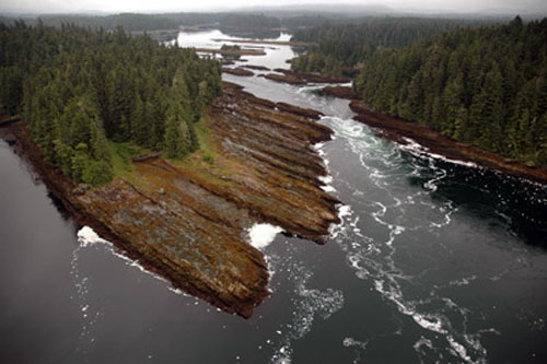 jpg Tidal rapids in a lagoon near Angoon, Alaska