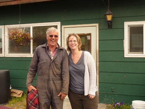 jpg Johanna Herron visits with Ben VanderWeele at the VanderWeele Farm in Palmer.