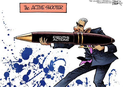 jpg Editorial Cartoon: Obama Shoots