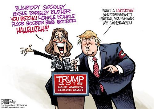 jpg Editorial Cartoon: Palin Endorses Trump