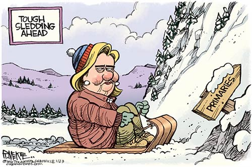 jpg Editorial Cartoon: Hillary Tough Sledding