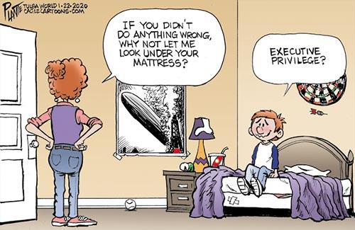 jpg Political Cartoon: Impeachment trial at home