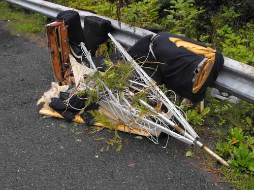 jpg A chair dumped at Mile 15 N. Tongass which AK DOT cleaned up.