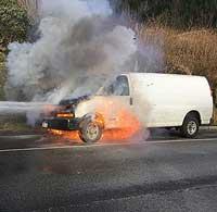 No Injuries in Van Fire
