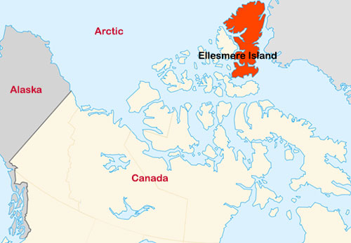 jpg Map showing the location of Ellesmere Island.