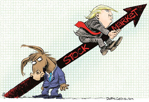 jpg Editorial Cartoon: Trump Rides the Stock Market Up
