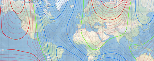jpg Northern Magnetic Model Out-of-Cycle     February 04, 2019 Monday PM     (SitNews) - Earth's northern magnetic pole is moving quickly away from the Canadian Arctic toward Siberia. This movement has forced NCEI's scientists to update the World Magnetic Model (WMM) mid-cycle.  Typically, a new and updated version of the WMM is released every five years. With the last release in 2015, the next version is scheduled for release at the end of 2019.Due to unplanned variations in the Arctic region, scientists have released a new model to more accurately represent the change of the magnetic fieldbetween 2015 and now.