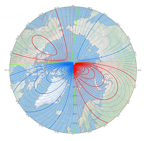 jpg This map shows the location of the north magnetic pole (white star) and the magnetic declination (contour interval 2 degrees) at the beginning of 2019.