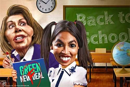 jpg Political Cartoon: Green New Deal Pelosi and AOC