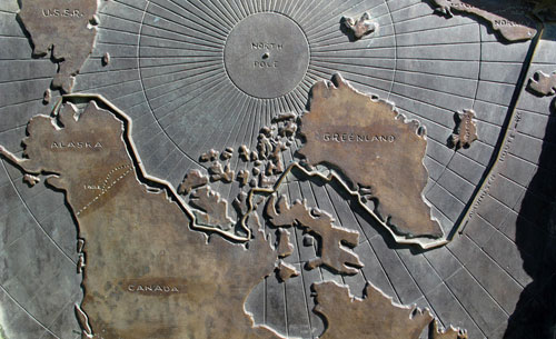 jpg Part of Norwegian explorer Roald Amundsen's route through the Northwest Passage in the early 1900s. This image of from a plaque in Eagle, Alaska, to where Amundsen mushed from Herschel Island in the winter of 1905.