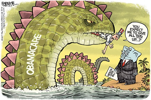 jpg Political Cartoon: Obamacare Monster