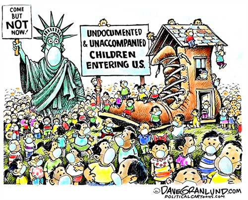 jpg Political Cartoon: Minors crossing US border
