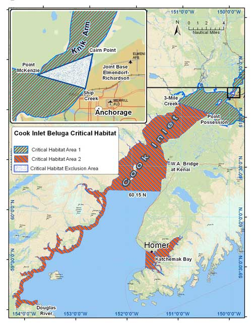 beluga whale habitat map. Map courtesy NOAA