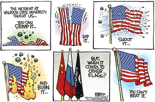 jpg Political Cartoon: Flag Stomped On