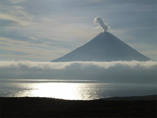 jpg Steam and gas plume rising from Alaska's Cleveland Volcano in 2014.