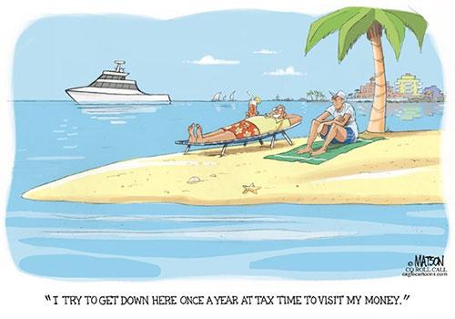 jpg Editorial Cartoon: Tax Haven Getaway