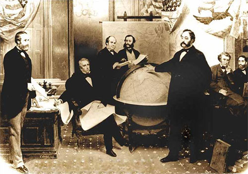 jpg The signing of the Alaska Treaty of Cessation on March 30, 1867. L–R: Robert S. Chew, William H. Seward, William Hunter, Mr. Bodisco, Eduard de Stoeckl, Charles Sumner and Frederick W. Seward.