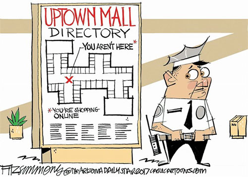 Editorial Cartoon: Shopping Online
