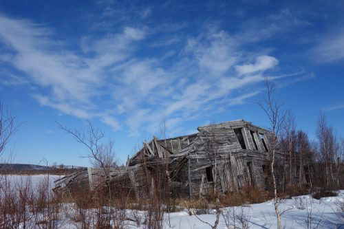 jpg The Mitchell Hotel in Iditarod, where travelers slept in the early decades of the 1900s, is falling down today.
