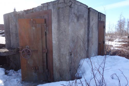 jpg This vault, with two-foot concrete walls, was once inside a bank building at Iditarod.