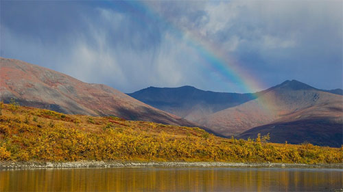 jpg A rainbow over the Noatak River and mountains