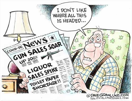 jpg Political Cartoon: Covid-19 Guns Alcohol and TP