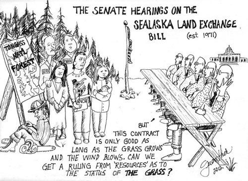 jpg The Senate Hearings on the Sealaska Land Exchange Bill A political cartoon by Jim Guenther