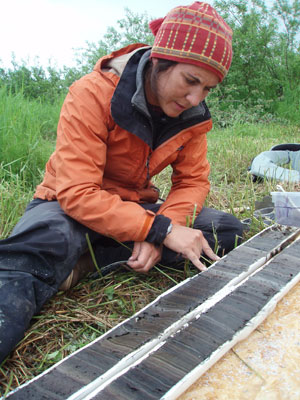 jpg Examination of lake sediment core from southern Alaska shows intricate layering indicating environmental and climatic changes over centuries.
