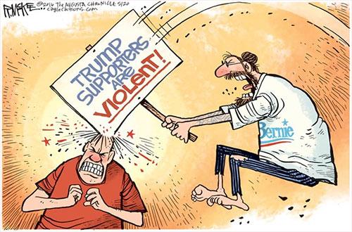 jpg Editorial Cartoon: Bernie Violence