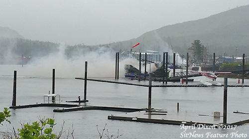jpg Marina vessel fire in North Cove in Craig