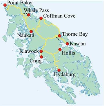 Pow Scenic on Prince Of Wales Island Alaska Map