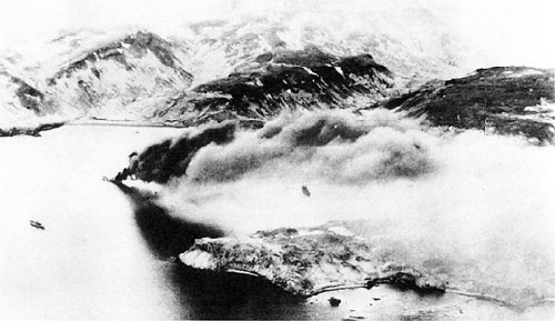 jpg Japanese transport burning after U.S. air attack on Kiska Harbor, 18 June 1942