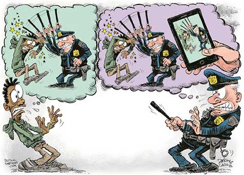 jpg Political Cartoon: Police Beatings and Phone Videos