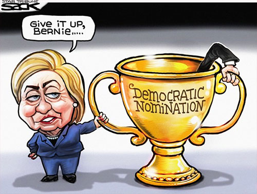 jpg Editorial Cartoon: Hillary & Bernie