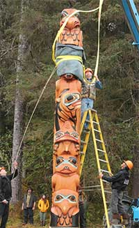Standing Tall in Bartlett Cove: Eagle and Raven Totem Raising