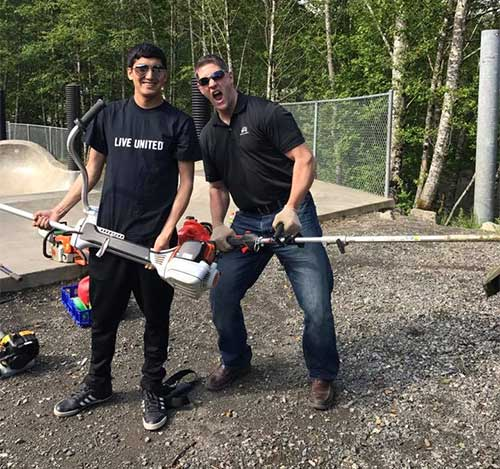 jpg Volunteers from Wells Fargo, Northrim Bank and Ketchikan Youth Initiatives, cut down growth and removed weeds at the Skate Park.