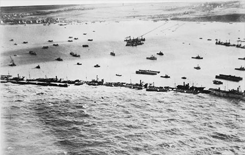 jpg To stage their invasion of Nazi-held France, Allied forces created floating harbors in the English Channel where ships could safely dock to send soldiers and supplies ashore.
