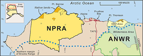 jpg A map of northern Alaska showing the location of the National Petroleum Reserve-Alaska (NPRA) and the Arctic National Wildlife Refuge.
