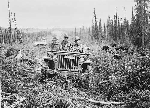 jpg First truck to go over the rough cordurouy road along the Alcan Highway route was an Army jeep