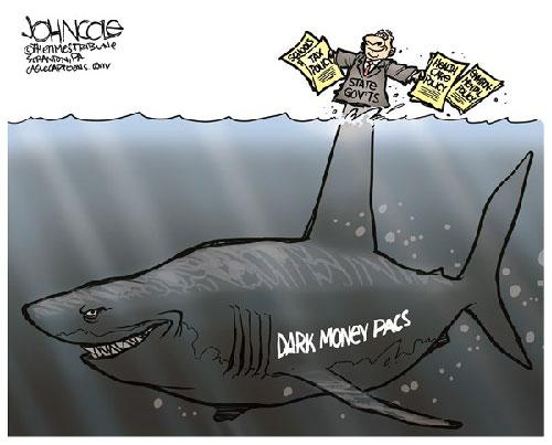 jpg Political Cartoon: The dark money shark