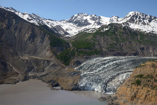 jpg The landslide in Taan Fiord landed partly on the toe of Tyndall Glacier and largely in the water.