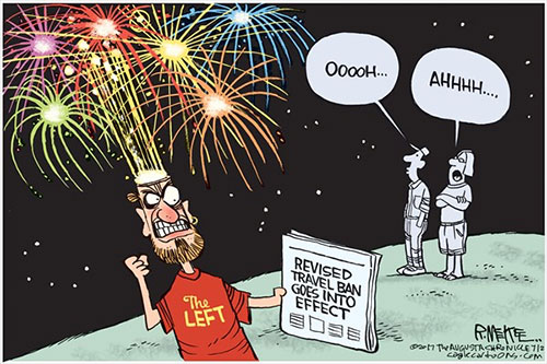 jpg Editorial Cartoon: Travel Ban Fireworks