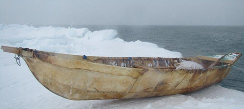 jpg A boat used to hunt bowhead whales, a critical traditional resource, rests on the ice near Utqiagvik, Alaska.