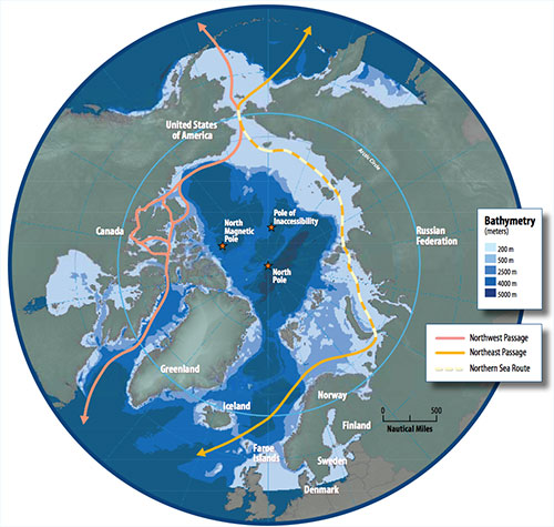 jpg This map of the Arctic Ocean shows potential shipping routes. Such routes are blocked by floating ice in winter. However, the ice-covered area in late summer has decreased 14 percent per decade since 1979. The Arctic Ocean is projected to be ice-free in summer within decades.