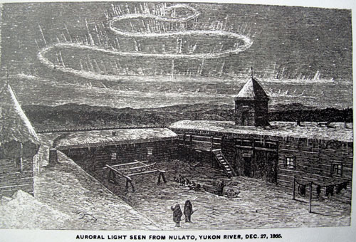 jpg Frederick Whymper created this illustration of the aurora as seen above the fort in the Yukon River village of Nulato in December 1866.