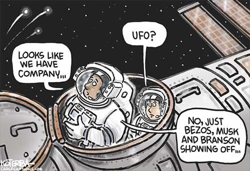 jpg Political Cartoon: Bezos, Musk and Branson in Space