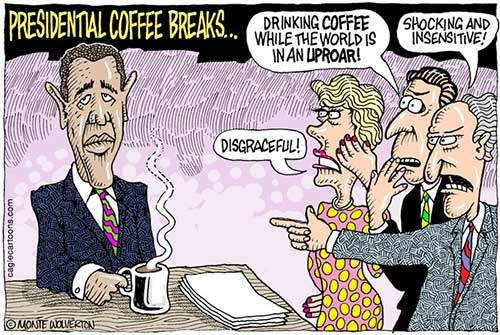 jpg Political Cartoon: Obama Vacations and Coffee Breaks