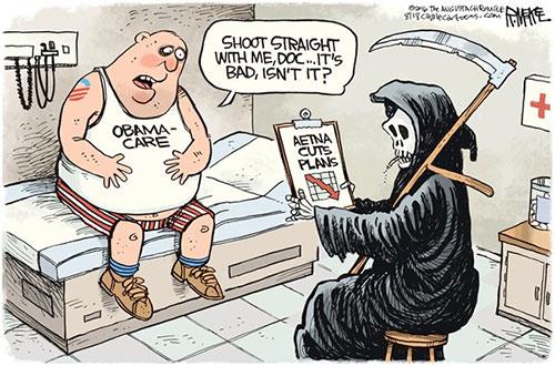 jpg Editorial Cartoon: Obamacare Death Spiral