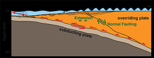 jpg A tsunami can occur as ocean crust (brown area) dives under continental crust (orange), causing the ocean floor to suddenly move.